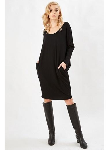Peraluna Peraluna Siyah Renk 3/4 Kol Balon Kadın Triko Elbise Siyah